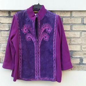 Bob Mackie 100% suede jacket/sweater. Rarely worn.